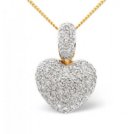 9K Gold 1.20ct Diamond Pendant, E1359